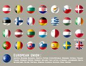 European Union Flags. Glossy Round Button Flag Set. Vector Illustration. poster