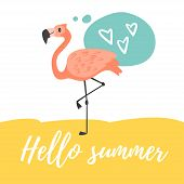 Vector Cartoon Style Hello Summer Design For Season Postcard Or Poster With Flamingo And Speech Bubb poster