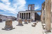 Ancient Ruins In Pompeii - Colonnade In Courtyard Of Domus Pompei In Via Della Abbondanza, Naples, I poster