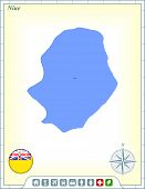 Niue Map with Flag Buttons and Assistance & Activates Icons Original Illustration