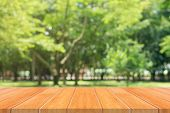 Wooden Board Empty Table In Front Of Blurred Background. Perspective Brown Wood Table Over Blur Tree poster