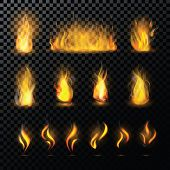 Fire Flame Vector Fired Flaming Bonfire In Fireplace And Flammable Campfire Illustration Fiery Or Fl poster