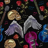 Embroidery Rock Music Seamless Pattern. Guitar, Gothic Roses, Angel Wings, Human Skull, Music Notes. poster