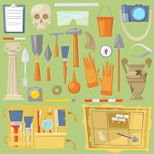 Archeology Vector Archaeological Finds And Tools Or Equipment And Elements Of Ancient History Findin poster