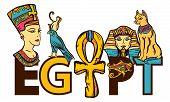 Ancient Egypt Seamless Pattern, Old School Tattoo. Egypt - Slogan. Pharaoh, Ankh, Eye Ra, Nefertiti, poster