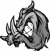 stock photo of razorback  - Cartoon Image of a Boar Razorback Mascot Head - JPG