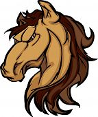 stock photo of broncos  - Cartoon Mascot Icon of a Mustang Bronco Horse - JPG