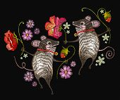 Embroidery Mouse. Two Cheerful Mice Are Danced In Flowers Classical Embroidery. Template For Clothes poster