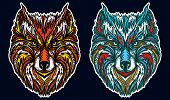 Native American Tribal Wolf. Ornamental Wolf Head Tattoo And T-shirt Design poster