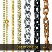 Set Of Chains Made Of Different Metals Isolated On White. Thin Gold Chain With Clasp. Thick Chain Of poster
