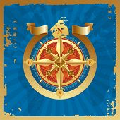 foto of compass rose  - Golden compass rose - JPG