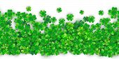 Patricks Day Seamless Background With Four Green Clover Heap With Realistic Shadows. 3d Motion Effec poster