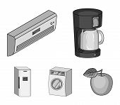 Home Appliances And Equipment Monochrome Icons In Set Collection For Design.modern Household Applian poster