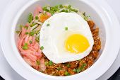 Korean Food Called Bibimbap Spicy Vegetables Mix With Egg