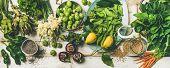 Spring Healthy Vegan Food Cooking Ingredients. Flat-lay Of Vegetables, Fruit, Seeds, Sprouts, Flower poster