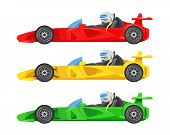 Set Of Colorful Fast Motor Racing Cars, Formula 1 (one), Bolides Sport Racing Car Flat Vector Icons  poster