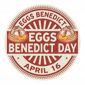 Eggs Benedict Day, April 16, Rubber Stamp, Vector Illustration poster