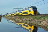Train along canal