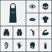 Physique Icons Set With Butt, Skull, Finger And Other View Elements. Isolated  Illustration Physique poster