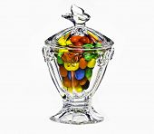 Elegant crystal candy dish filled with candy