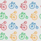 Multicolored Antique Old Bicycle With Big Wheels Penny-farnet Seamless Pattern. Seamless Pattern Wit poster