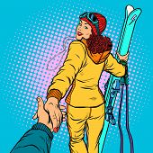 Skier Woman, Extreme Winter Sports. Follow Me Concept, Couple Love Hand Leads. Pop Art Retro Vector  poster