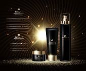 Cosmetics Luxury Beauty Series, Ads Of Premium Body Cream And Spray For Skin Care. Template For Desi poster