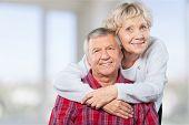 Couple Elderly Hugging Two People Senior Adult Heterosexual Couple Years poster