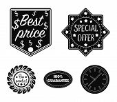 Special Offer, Best Prise, Guarantee, Bio Product.label, Set Collection Icons In Black Style Vector  poster