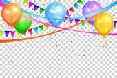 Happy Birthday Design. Border Of Realistic Colorful Helium Balloons And Flags Garlands Isolated On T poster