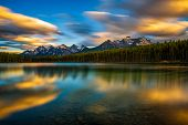 Scenic Sunset Over Herbert Lake Along The Roadside Of The Icefields Parkway In Banff National Park,  poster