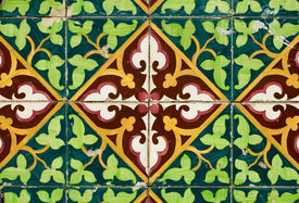foto of ceramic tile  - Colorful vintage spanish style ceramic tiles wall decoration - JPG