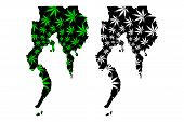 Davao Region (regions And Provinces Of The Philippines) Map Is Designed Cannabis Leaf Green And Blac poster