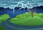 Thunderstorm Storm Concept Banner. Cartoon Illustration Of Thunderstorm Storm Vector Concept Banner  poster