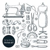 Sewing Tools And Tailor Equipment Set, Isolated On White Background. Vector Hand Drawn Sketch Illust poster