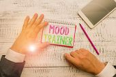 Conceptual Hand Writing Showing Mood Trainer. Business Photo Text A Demonstrating Who Trains To Alle poster