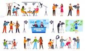 Journalists. Newscaster And Journalist Profession, Media Record. Television Industry. Press Intervie poster
