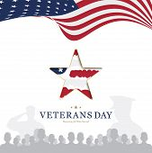 Veterans Day. Greeting Card With Usa Flag And Star On Background National American Holiday Event. Fl poster