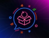 Return Package Line Icon. Neon Laser Lights. Delivery Parcel Sign. Cargo Goods Box Symbol. Glow Lase poster
