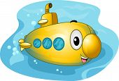 picture of u-boat  - Mascot Illustration of a Colorful Submarine - JPG
