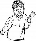sketch a capricious boy yells loudly