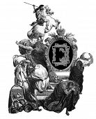 Luxurious Victorian initials letter F, after an engraving by Gustav Dore,