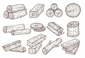 Sketch Lumber. Wood Logs, Trunk And Planks. Forestry Construction Materials Hand Drawn Isolated Vect poster