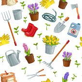 Gardening Seamless Pattern Gardening With Tools, Flowers , Rubber Boots, Seedling, Tulips, Gardening poster