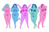 Cheerful Happy Young Girls In Swimsuits Set. Female Cartoon Characters. Body Positive. Fat Figures,  poster