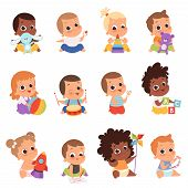 Baby Characters. New Born Kids Playing Toys Happy Childhood Small Little One Vector Babies. Illustra poster