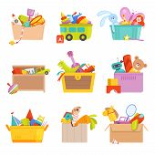 Toys Box. Gifts For Kids In Package Many Toys Car Rocket Train Vector Cartoon Illustrations. Rocket  poster