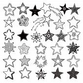 Stars. Space Symbols Planets Elements Hand Drawn Collection Space Stars Vector Doodle Pictures. Ssta poster
