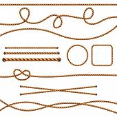 Fiber Ropes. Straight Brown Realistic Threads Ropes Crossing Marine Knots Vector Pictures. Illustrat poster