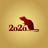 Happy New Year 2020, Year Of The Rat According To The Eastern Calendar. New Year Poster - Vector Ill poster